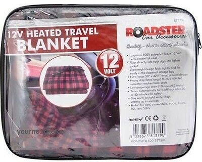 Extra Large 12V Heated Travel Electric Blanket 8ft Lead PVC Bag + Colour Header