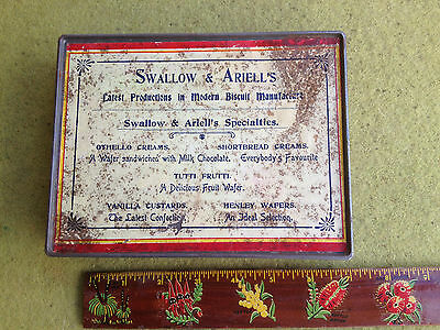"""RARE 8"""" c1910 MELB. SWALLOW & ARIELLS 'VARIETY WAFERS' TIN. PAPER LABELS"""