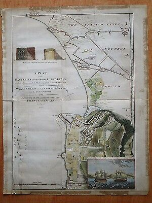 Antique Map Hand Coloured, Plan of the Batteries Erected before Gibraltar c.1785