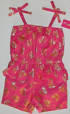 PENNY M girls Bright Pink GOLD Metallic BUTTERFLY ROMPER Outfit* 4  NWT NEW