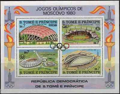 St Thomas (Tome e Principe) 1980 sheet MNH - Moscow Olympics - combined postage