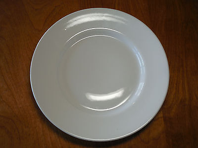 "Pottery Barn GREAT WHITE Set of 4 Large Dinner Plates 12"" 2"" Rim Smooth A"