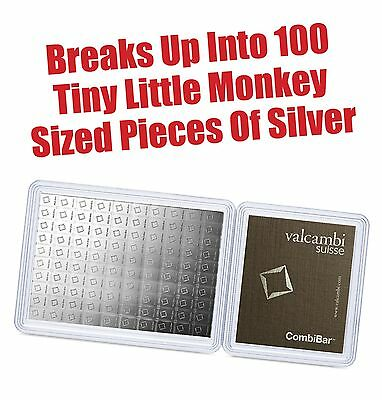 100 x 1 gram Silver Bar - Valcambi Silver CombiBar™ (w/Assay) - Super Low Price