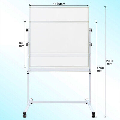 Double Sided Mobile Magnetic Whiteboard 120x90cm with FREE GIFTS