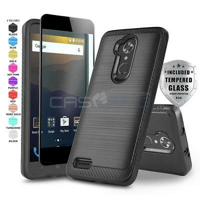 Modern Armor Hybrid Slim Cover Phone Case For [Zte Max Xl] +Black Tempered Glass
