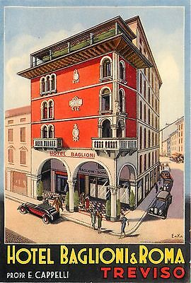 Treviso Italy Hotel Baglioni & Roma Gorgeous Old Artist Deco Luggage Label