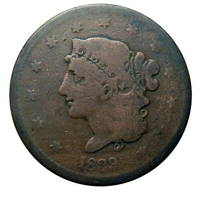Large cent/penny 1839 booby head circulated unusual planchet flaw