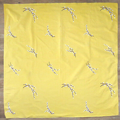 Vintage WILENDUR Tablecloth Yellow Pussy Willows Square 53x51