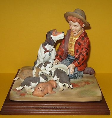Vintage Norman Rockwell Pride of Parenthood Boy and Dogs Figurine 1986