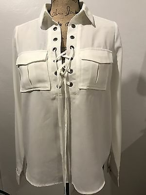 Women's lace-up white blouse shirt pockets on front long sleeve Size S