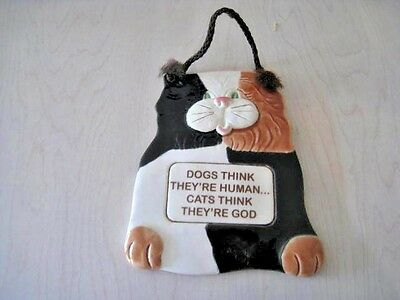 Smokey Mountain Pottery CAT Wall Plaque SMP Gatlinburg,Tennessee 1994