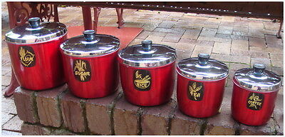Vintage Retro 50s 60s Red Aluminum Anodised Kitchen Canisters Set of 5