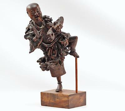 Exceptional Quality Dancing Laughing Antique Chinese Root Figure Carving