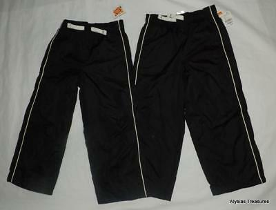 NEW NWT Boys 5T / 5 Toddler Black Elastic Waist Lined Athletic Pants 2 Pc Lot