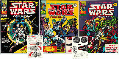 Star Wars Weekly #1,2,3 Vintage UK Comic British Weekly Marvel Comics With Gifts