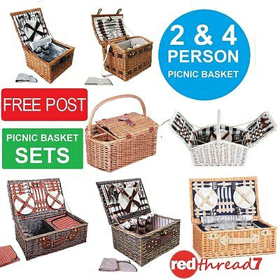 Picnic Basket 2 & 4 Person Insulated Bag Hamper Set Blanket Wine Holder Cheese