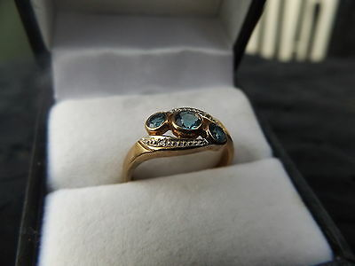 9Ct Yellow Gold, Blue Topaz And Diamond Ring-Not Scrap