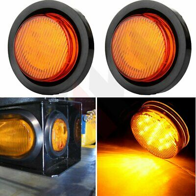 2x Amber 13 led Round Side Marker Turn Tail Signal Light  Grommet & Pigtail