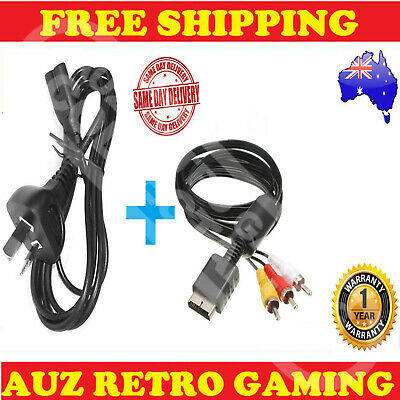 New RCA TV AV Cable + POWER Cord For Playstation 1 PS1 PS2 PS3