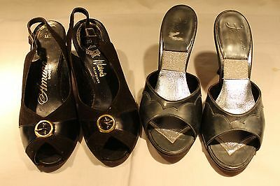 VTG  lot 2 pairs women's  high heels mules 6.5 M and open toes sling backs 6 M