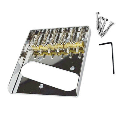 Telecaster Vintage Style Chrome 6 Brass Saddle Bridge For Electric Guitar Tele