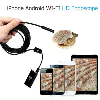 720P 8mm WiFi Endoscope Borescope Inspection 6 LED Camera for iPhone Android PC