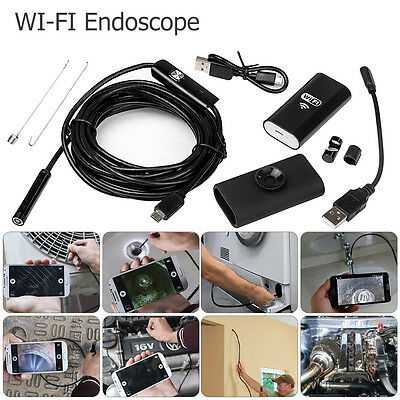 1080P 8mm WiFi Endoscope Borescope Inspection 6 LED Camera for iPhone Android PC
