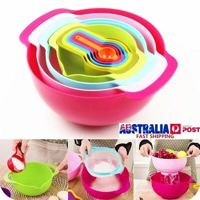10Pcs Mixing Bowl Set Plastic Bowls Measuring Cups Spoon Kitchen Baking Tools AU