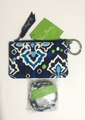 New Vera Bradley Zip Id Case And Lanyard  Ink Blue Color Set  Gift
