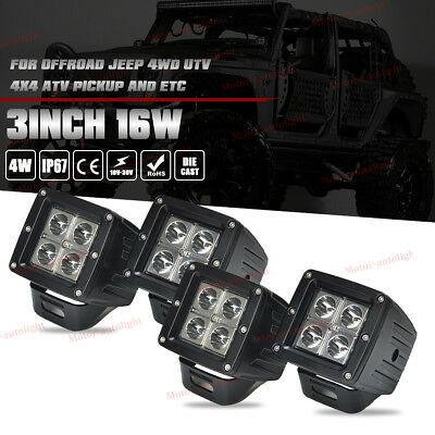 "4pcs 16W 3X3"" CREE Cube LED Work Light Spot Offroad Driving Pods Truck SUV JEEP"