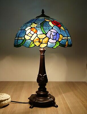 "16"" Traditional Ornamental Style Leadlight Stained Glass Tiffany Table Lamp"