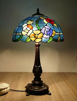 Large Traditional Flower Style Leadlight Stained Glass Tiffany Table Lamp