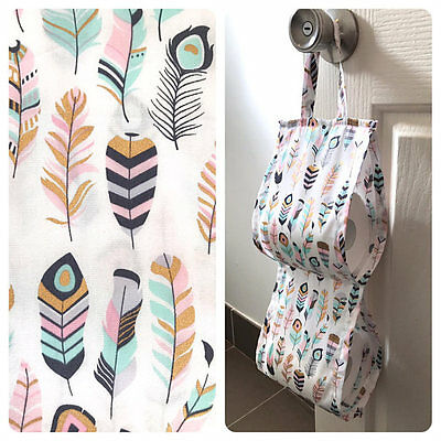Double Toilet Roll Holder/ Toilet Paper Holder/ Bathroom Storage Pastel Feathers