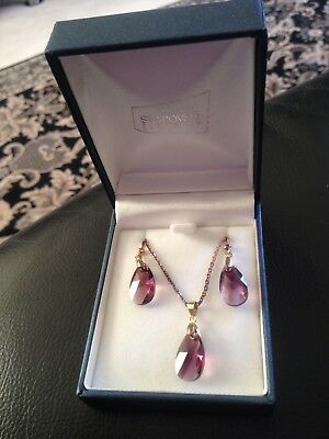 Swarovski Amethyst Necklace And Earring Set Rrp $180