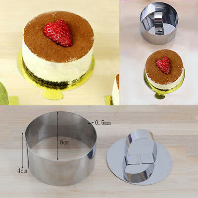 4 Shape Stainless Steel Mousse Cake Ring Mold Layer Slicer Cook Cutter Gadget