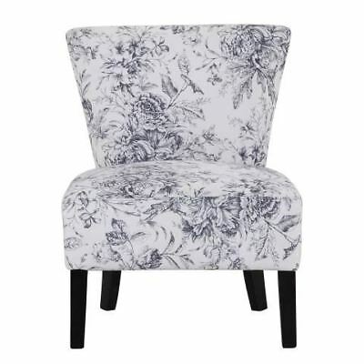 New Padded Bedroom Chair Austen Floral Seat Flowers White Blue