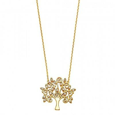 14k Yellow Gold Magical Designer Kabbalah Tree of Life Charm Pendant Necklace