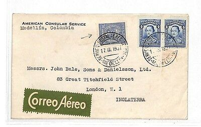 HH65 1937 Colombia Medellin Cover GB London {samwells-covers}PTS