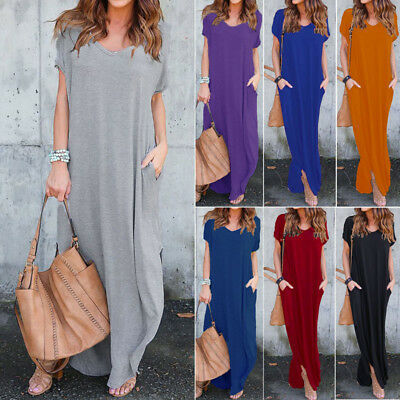 ZANZEA Women T-Shirt Long Maxi Dress Split Evening Party Shirt Dress Summer Plus