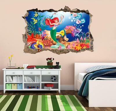 Wall Decals & Stickers The Little Mermaid Smashed 3D Wall Decal Mural Sticker Decor Art Vinyl DA168 Home, Furniture & DIY