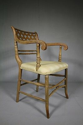 Quality Regency Antique Simulated Bamboo Armchair.
