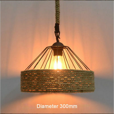 Vintage Industrial Hemp Rope Iron Pendant Ceiling Light Bases Chandeliers Round