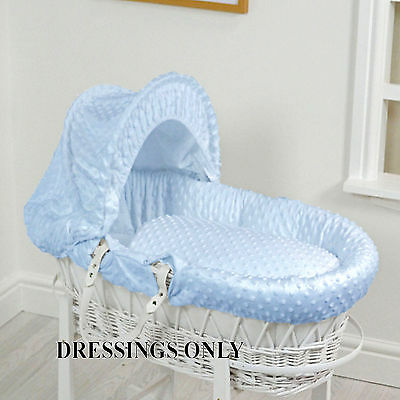 New 4Baby Blue Dimple Wicker Baby Moses Basket Dressings Extra Basket Cover