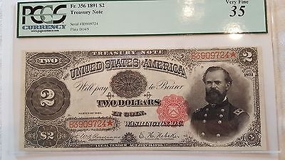 1891 Treasury Note  $2 McPherson PCGS Very Fine 35