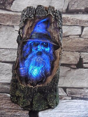 'root Of Magic'  Wizard Carved In Tree Trunk With Morphing Led Light ~ Awesome!