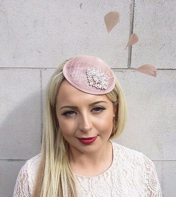 Nude Pink Beige Rose Gold Silver Feather Fascinator Races Wedding Hat Hair 3672
