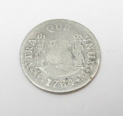 1764 Peru 2 Reales Silver Coin