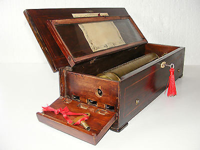 """ANTIQUE CYLINDER MUSIC BOX BY """"NICOLE FRERES"""" WITH KEY WIND"""" c1860 WORKING ORDER"""