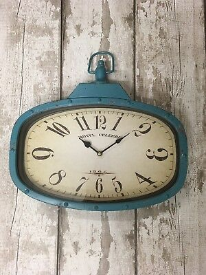 Shabby Chic Rustic Vintage Retro Metal Blue Teal Industrial Wall Clock New