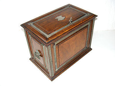 ANTIQUE VICTORIAN OLIVEWOOD TABLE TOP WRITING CABINET WITH FALL FRONT c1880